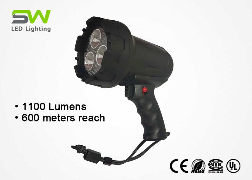 1100 Lumens Handheld Rechargeable LED Spotlight With Rubberized Lens Protector