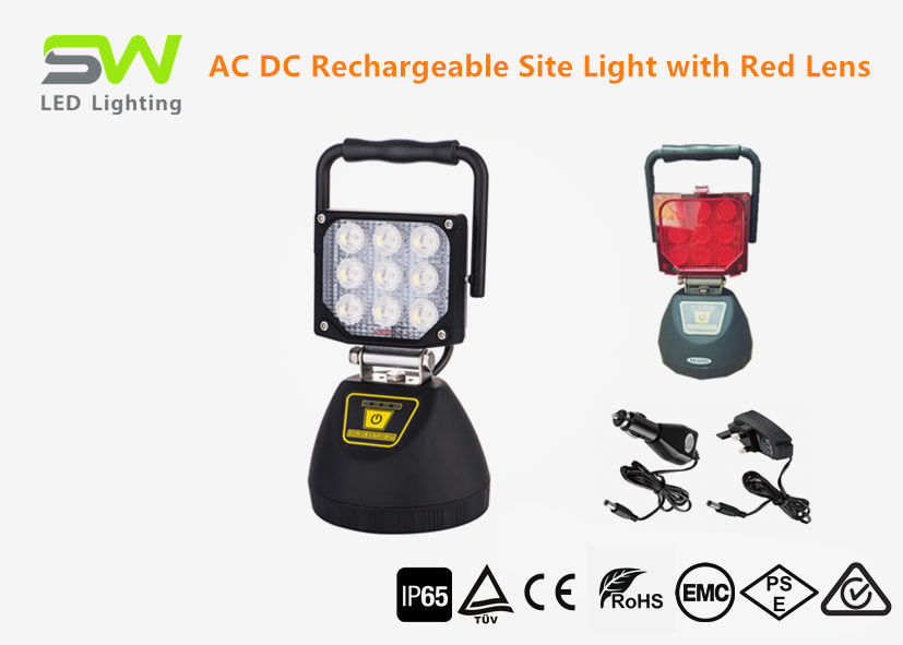 Stable Rechargeable Portable LED Flood Lights Li Ion Battery Powered Site Light IP65