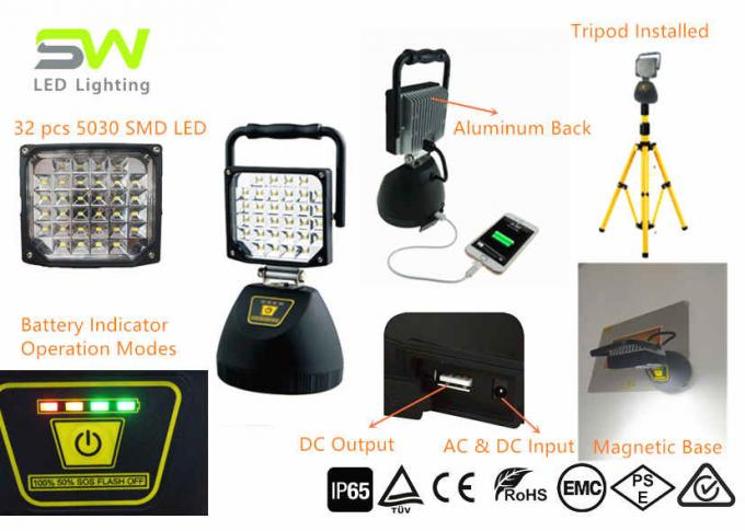 SMD Cordless Portable Battery Led Flood Lights Site Tripod Light Magnetic Stand IP 65