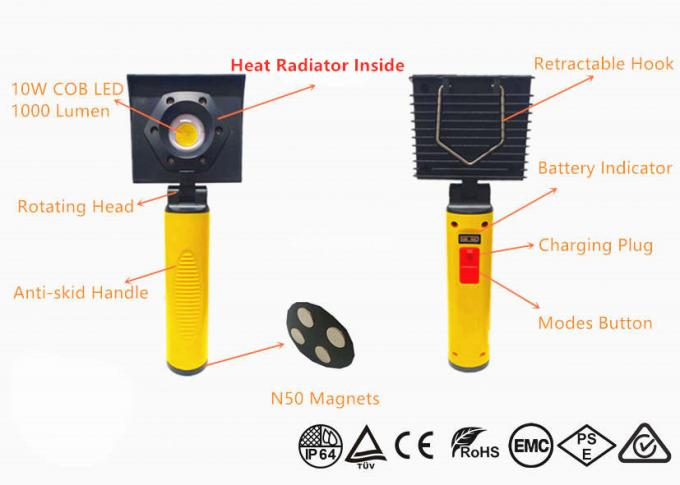 Small Rechargeable Led Work Light Magnetic Inspection Lamp With Wall Clamp Storage 0